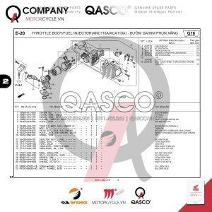 E20 | Bướm ga - Kim phun xăng ( ANC110A/ACA110A) | Air Blade 110