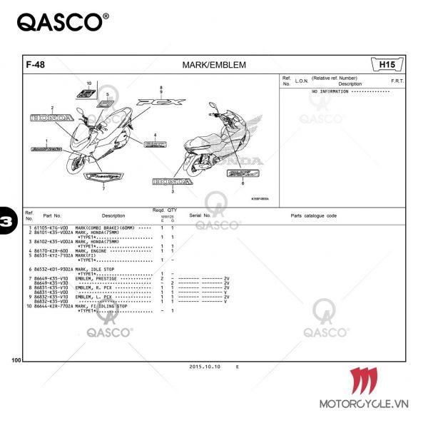 Catalogue PCX 125 K35K (WW125E / WW125G) (2015)