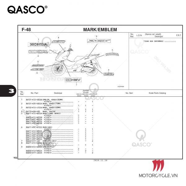 Catalogue PCX 160 K1Z (2021)
